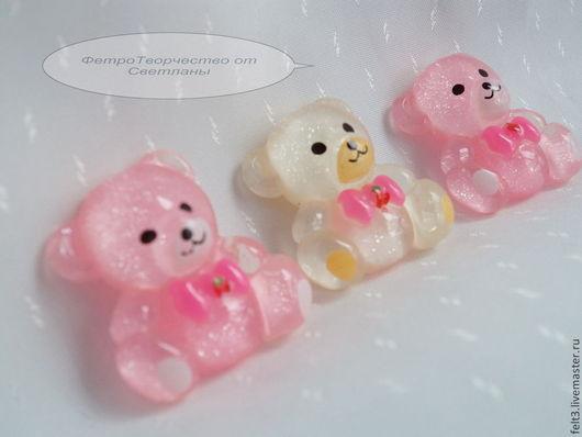 """Другие виды рукоделия ручной работы. Ярмарка Мастеров - ручная работа. Купить Кабошоны """"Мишутки """".Розовый и белый.. Handmade."""