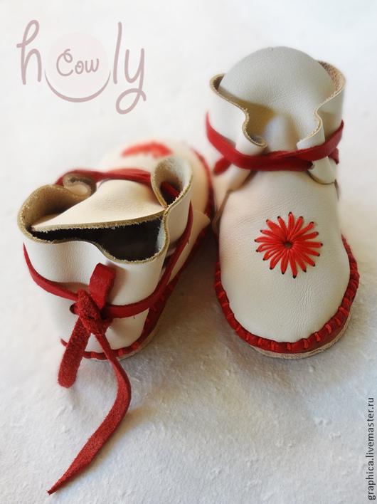 """Детская обувь ручной работы. Ярмарка Мастеров - ручная работа. Купить Детские кожаные мокасины """"Sweet Love"""". Handmade."""