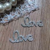 Материалы для творчества handmade. Livemaster - original item !Scrapbooking. Decor-the buckle,brooch with rhinestones, LOVE diamond. Handmade.