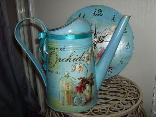 """Часы для дома ручной работы. Ярмарка Мастеров - ручная работа. Купить Часы и лейка """"Орхидеи"""". Handmade. Часы, подарок девушке"""