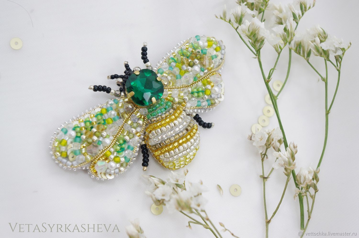 Brooch-pin: Bee embroidered with beads, Brooches, Tomsk,  Фото №1
