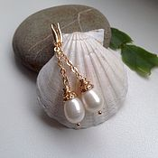 Украшения handmade. Livemaster - original item Gold plated earrings with pearls