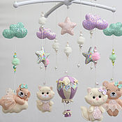 Работы для детей, handmade. Livemaster - original item Mobile for girls on the cot