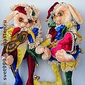 Куклы и игрушки ручной работы. Ярмарка Мастеров - ручная работа плюшевые зайцы Арлекин и Коломбина. Handmade.