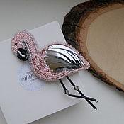 """Украшения ручной работы. Ярмарка Мастеров - ручная работа Брошь """"Фламинго"""" из бисера. Handmade."""