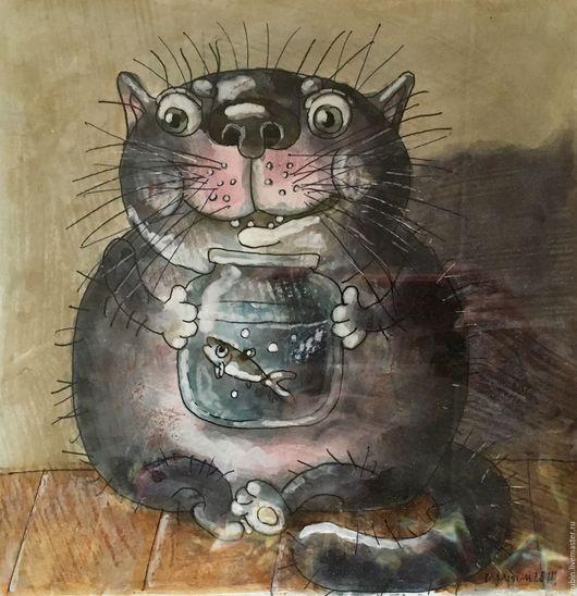 """Животные ручной работы. Ярмарка Мастеров - ручная работа. Купить """"Котейка с аквариумом""""акварельная работа. Handmade. Комбинированный, коты и кошки"""