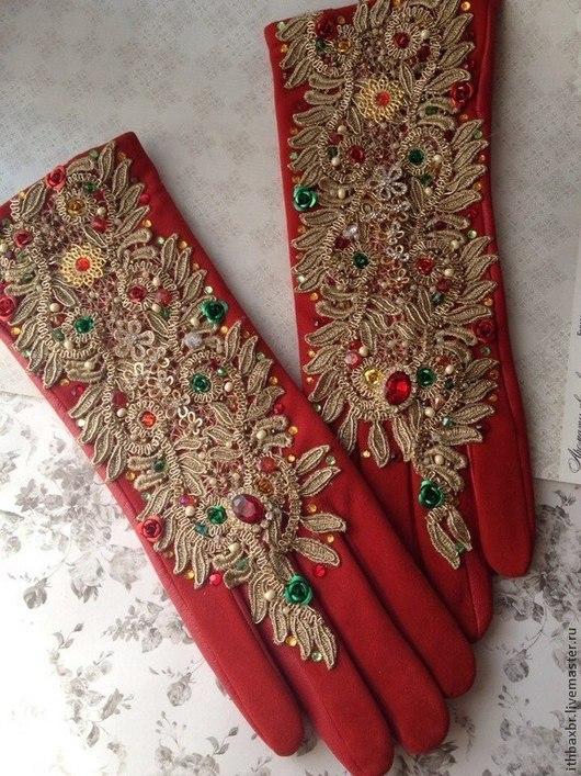 """Варежки, митенки, перчатки ручной работы. Ярмарка Мастеров - ручная работа. Купить Перчатки""""Алый Каприз""""в стиле DG. Handmade. Декор"""