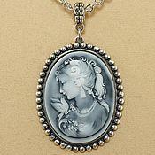 Подвеска ручной работы. Ярмарка Мастеров - ручная работа Камея Дама с голубкой, античное серебро (30х40мм). Handmade.