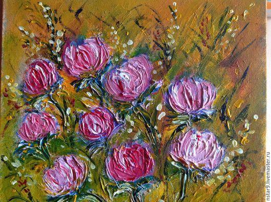 Картины цветов ручной работы. Ярмарка Мастеров - ручная работа. Купить Цветы для любимой+подарок автора.. Handmade. Розовый