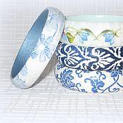 Украшения ручной работы. Ярмарка Мастеров - ручная работа Синие и голубые узкие тонкие браслеты из дерева. Декупаж дерево белый. Handmade.