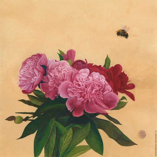 """Картины цветов ручной работы. Ярмарка Мастеров - ручная работа. Купить """"Полёт шмеля"""". Handmade. Комбинированный, пионы, цветы, паспарту"""