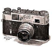 Картины и панно handmade. Livemaster - original item Paintings: drawing of the fed-4 camera. Handmade.