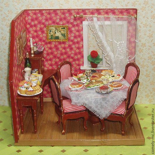 """Кукольный дом ручной работы. Ярмарка Мастеров - ручная работа. Купить Румбокс """"Столовая"""". Handmade. Румбокс, миниатюра, миниатюрная мебель"""