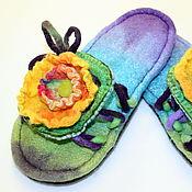 """Обувь ручной работы. Ярмарка Мастеров - ручная работа Валяные сланцы """"Да здравствует ЛЕТО!"""". Handmade."""