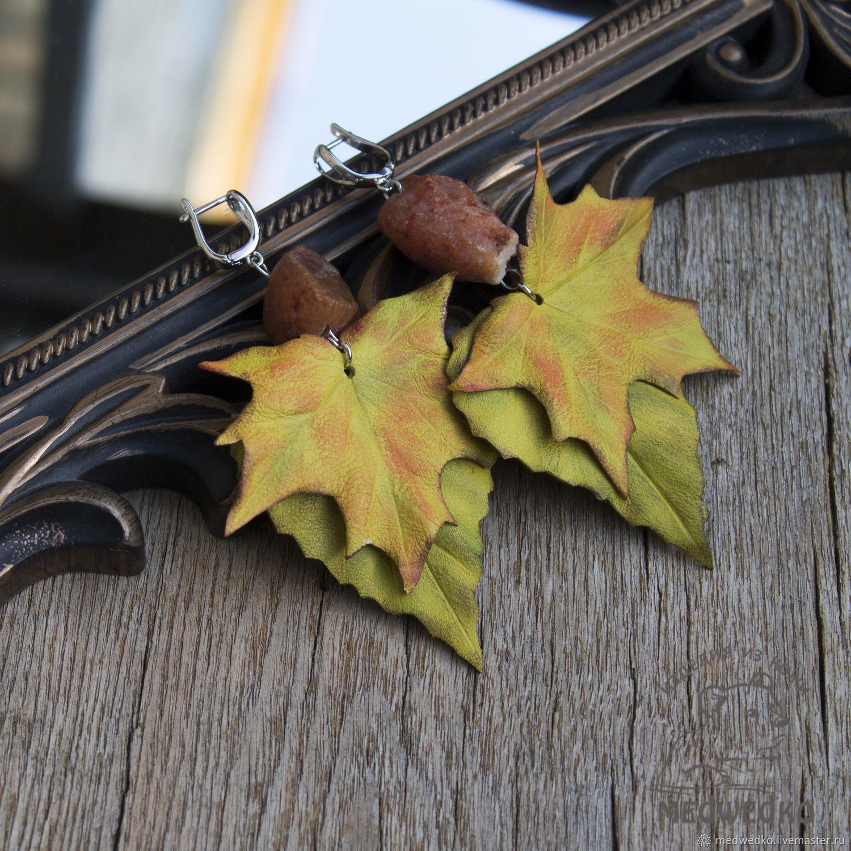 Earrings made of leather, the Rustle of Autumn, Earrings, Vidnoye,  Фото №1