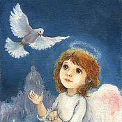 Для дома и интерьера ручной работы. Ярмарка Мастеров - ручная работа Ангел и Белая Голубка Принт 15х20см. Handmade.