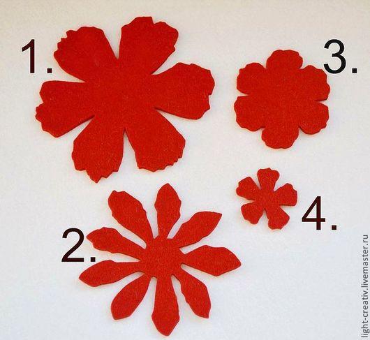 """Валяние ручной работы. Ярмарка Мастеров - ручная работа. Купить Вырубка из фетра """"Цветы № 14"""" (набор) ч/ш 3 мм. Handmade."""