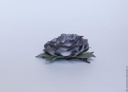 """Заколки ручной работы. Ярмарка Мастеров - ручная работа. Купить Заколка """"Черная роза"""". Handmade. Серый, заколка-цветок"""