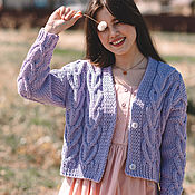Одежда handmade. Livemaster - original item cardigans: Women`s knitted cardigan in purple cotton. Handmade.