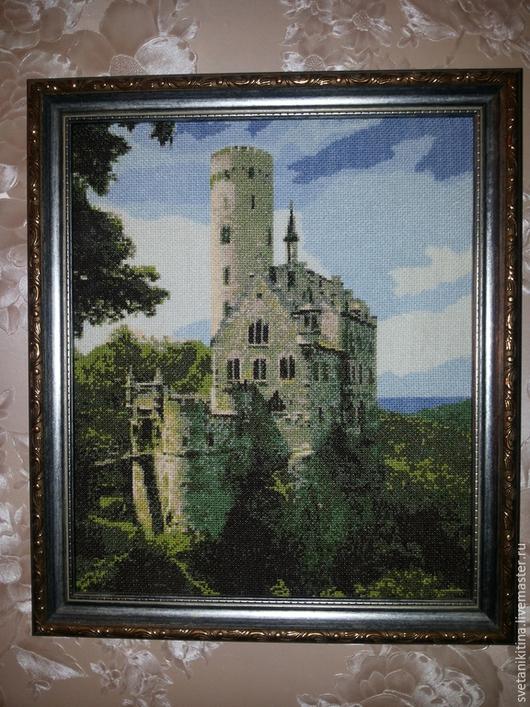 Пейзаж ручной работы. Ярмарка Мастеров - ручная работа. Купить Замок. Handmade. Зеленый, голубой, картина, картина для интерьера, вышивка
