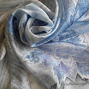 """Аксессуары ручной работы. Ярмарка Мастеров - ручная работа Платок  шелк  """"Финляндия""""(Морозное утро)серия """"Шелковая карта"""". Handmade."""