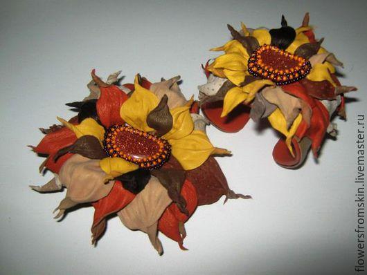 Комплекты украшений ручной работы. Ярмарка Мастеров - ручная работа. Купить Комплект из натуральной кожи ,, Осенний блюз,,. Handmade. Комбинированный