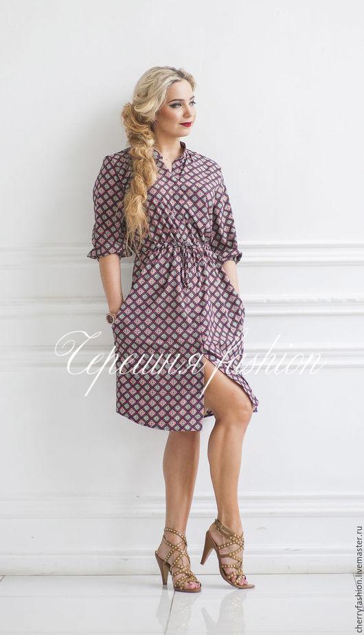 """Платья ручной работы. Ярмарка Мастеров - ручная работа. Купить Платье - рубашка  """"Кристи"""" (мини). Handmade. Комбинированный, платье рубашка"""
