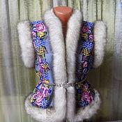 Одежда ручной работы. Ярмарка Мастеров - ручная работа ЖИЛЕТКА из павловопосадского платка в русском стиле. Handmade.