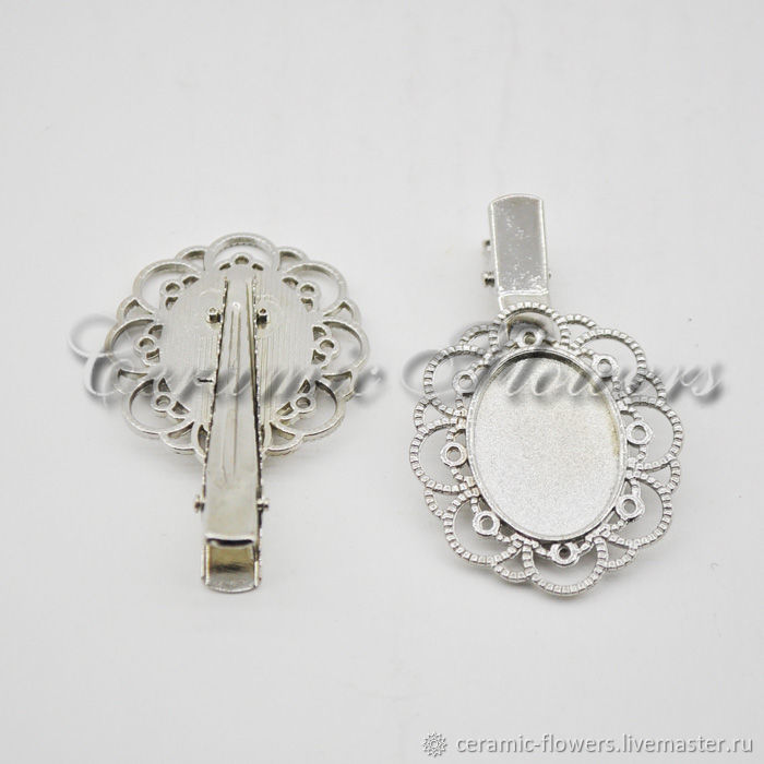 Barrette clip with oval openwork base 55 mm FR 21-22, Blanks for jewelry, Rostov-on-Don,  Фото №1