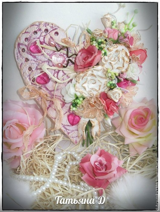 Подвески ручной работы. Ярмарка Мастеров - ручная работа. Купить Сердечки-подвески в стиле Шебби шик.. Handmade. Розовый, бусины