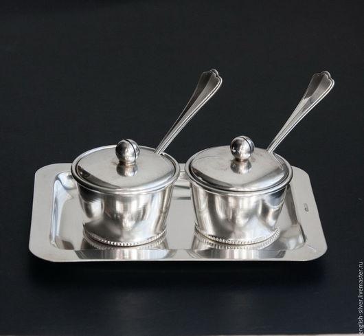 Винтажная посуда. Ярмарка Мастеров - ручная работа. Купить 2 серебряные солонки (перечницы, горчичницы) на подносе. Handmade. Серебряный