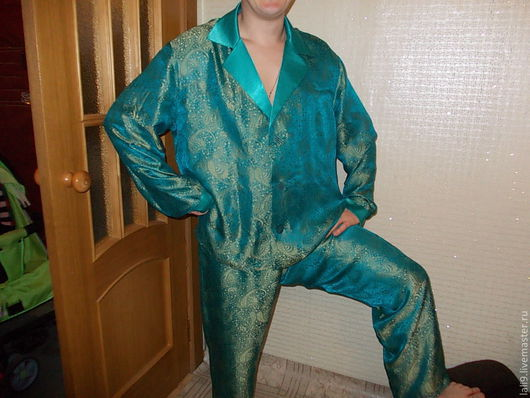 """Для мужчин, ручной работы. Ярмарка Мастеров - ручная работа. Купить Пижама мужская """"шелк"""". Handmade. Морская волна, белье"""