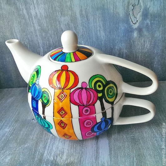 """Сервизы, чайные пары ручной работы. Ярмарка Мастеров - ручная работа. Купить Чайный набор """"Домики Хундертвассера"""" (0740). Handmade."""