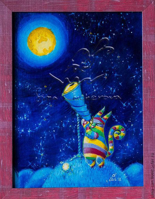 Авторская картина `Телескоп` Лунные коты.
