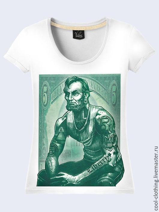 """Футболки, майки ручной работы. Ярмарка Мастеров - ручная работа. Купить Женская футболка """"Линкольн"""". Handmade. Рисунок, подарок женщине"""