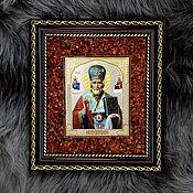 """Картины и панно handmade. Livemaster - original item Икона с рамкой из натурального янтаря """"Николай Чудотворец"""". Handmade."""