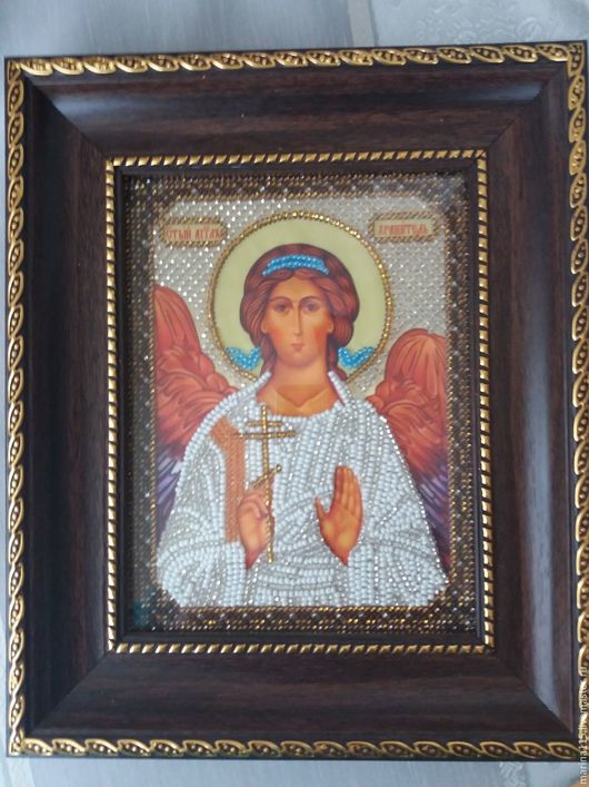 """Иконы ручной работы. Ярмарка Мастеров - ручная работа. Купить """"Икона Ангел Хранитель""""(ручная вышивка). Handmade. Икона, Вышивка бисером"""