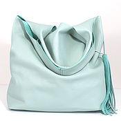 Сумки и аксессуары handmade. Livemaster - original item Mint leather Bag bag large bag string Bag t shirt shopper mint. Handmade.
