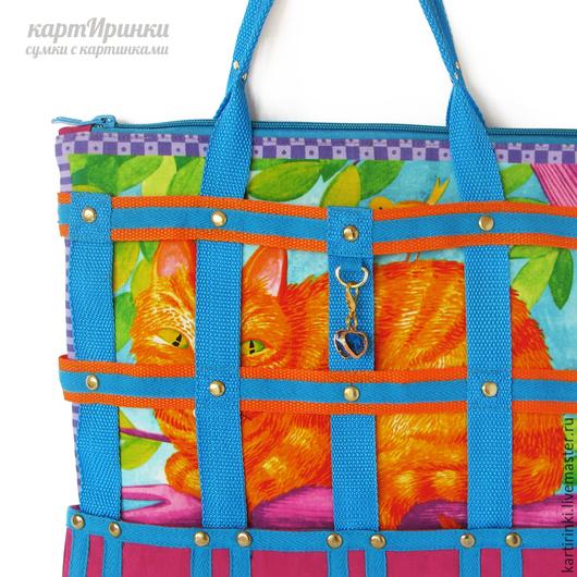 Женские сумки ручной работы. Ярмарка Мастеров - ручная работа. Купить летняя сумка Кошки в лукошке-2: рыжий кот. Handmade.