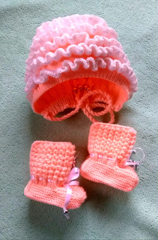 Комплект для новорождённого шапка + пинетки, Комплект из шарфа и шапки, Советск,  Фото №1