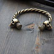 Украшения handmade. Livemaster - original item Bronze bracelet skull ,bracelet, Viking bracelet bronze. Handmade.
