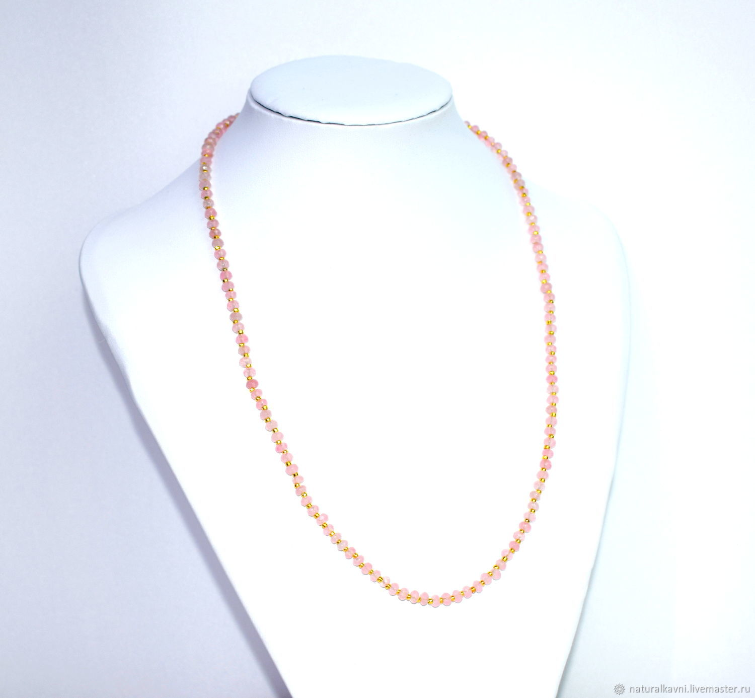 Beads from natural rose quartz with a cut, Necklace, Moscow,  Фото №1