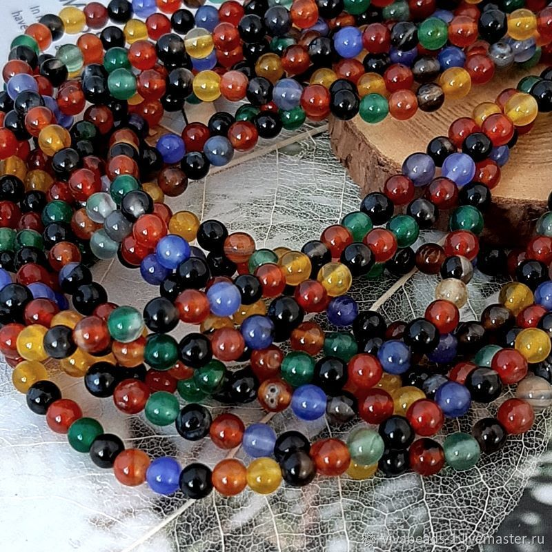Thread agate mix of colors 4 mm smooth ball (4417), Beads1, Voronezh,  Фото №1