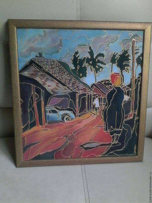 """Пейзаж ручной работы. Ярмарка Мастеров - ручная работа. Купить картина на ткани """"День в Кении"""". Handmade. Комбинированный, батик купить"""