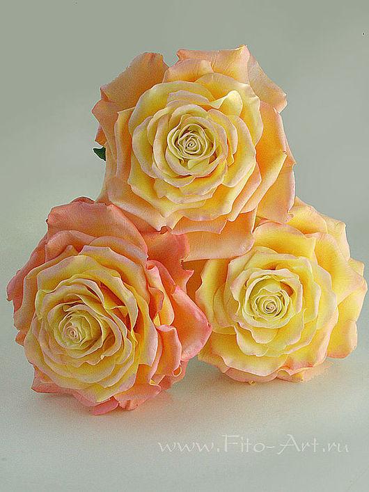 Цветы ручной работы. Ярмарка Мастеров - ручная работа. Купить Солнечные розы из холодного фарфора. Handmade. Желтый, подарок коллеге
