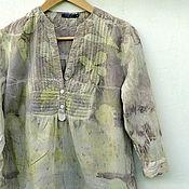 Одежда ручной работы. Ярмарка Мастеров - ручная работа Блузка-туника летняя, эко принт. Handmade.