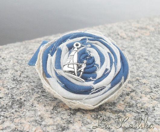 синий, брошь ручной работы, брошь для лета, брошь морская, летняя брошь, брошь бохо, брошь винтажная, морская тема, морской стиль,экостиль, натуральный стиль, бохо стиль, брошь синяя,брошь из ткани