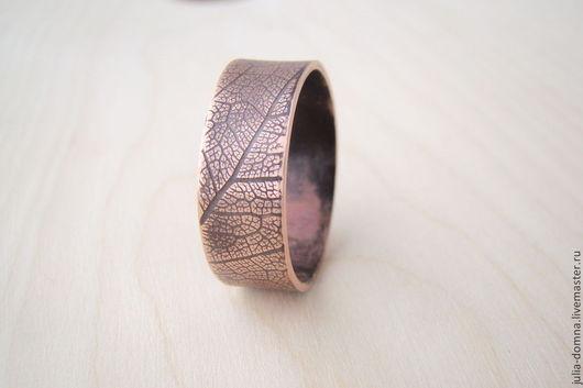 Украшения для мужчин, ручной работы. Ярмарка Мастеров - ручная работа. Купить Кольцо медное с текстурой листа. Handmade. Медное кольцо