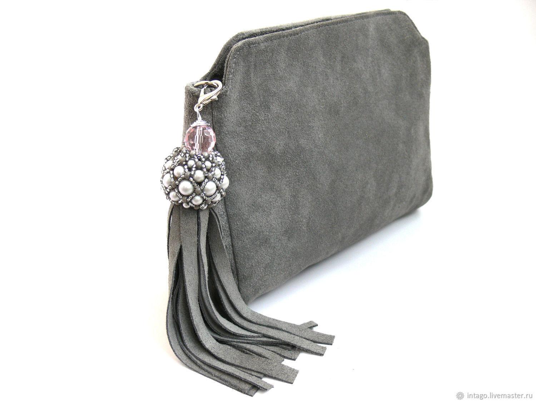 sale retailer unique style world-wide renown Light grey suede clutch bag with brush – купить на Ярмарке Мастеров –  HI1LFCOM | Сумки, Novosibirsk