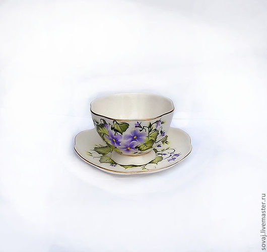 """Сервизы, чайные пары ручной работы. Ярмарка Мастеров - ручная работа. Купить Чайная пара с росписью  """"Фиалки"""". Handmade."""